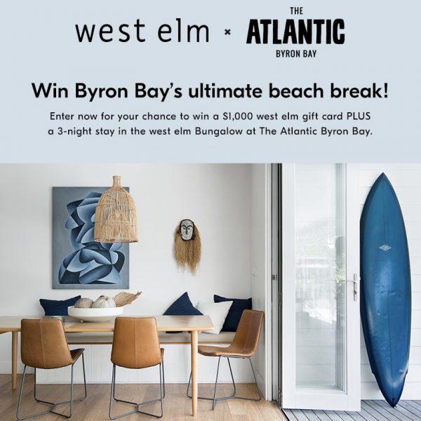 West Elm Atlantic Byron Bay giveaway